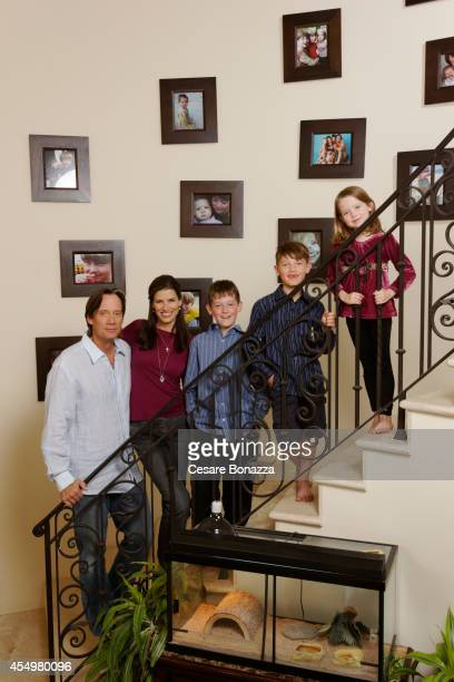Actor Kevin Sorbo next to his wife Sam Jenkins and children sons Braedon and Shane and daughter Octavia are photographed at home in March in...