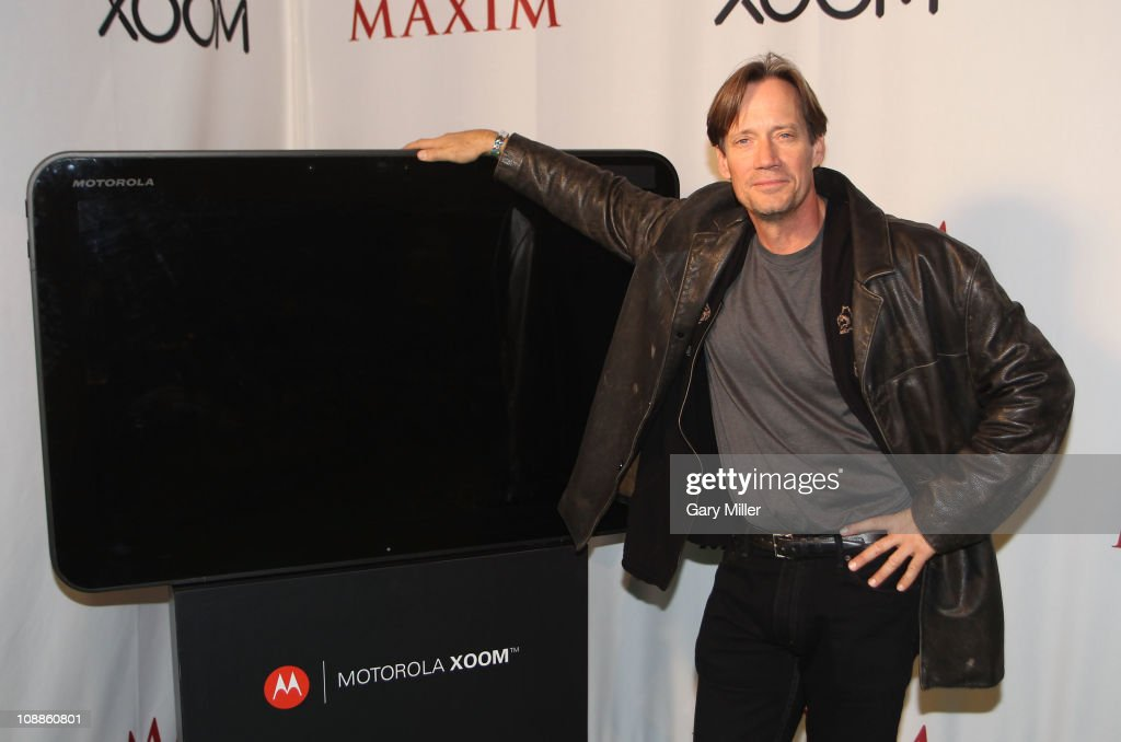 Actor Kevin Sorbo poses with Motorola Xoom at the Maxim Party Powered by Motorola Xoom at Centennial Hall at Fair Park on February 5, 2011 in Dallas, Texas.