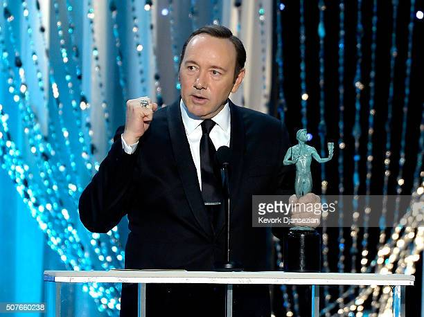 Actor Kevin Spacey accepts Outstanding Performance by a Male Actor in a Drama Series for 'House of Cards' onstage during the 22nd Annual Screen...