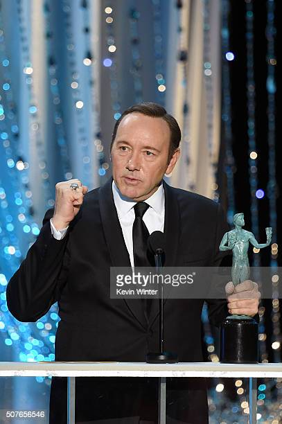 Actor Kevin Spacey accepts the Male Actor in a Drama Series award for 'House of Cards' onstage during The 22nd Annual Screen Actors Guild Awards at...
