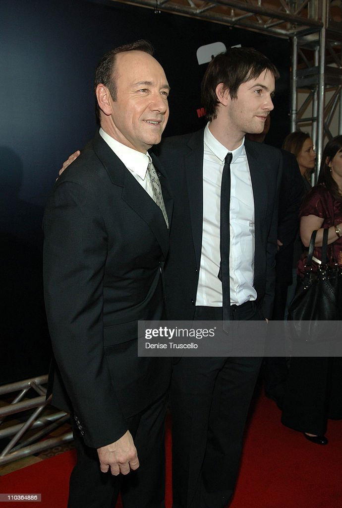 Actor Kevin Spacey and Jim Sturgess arrive at the premiere of '21' at the Planet Hollywood Resort & Casino on March 12, 2008 in Las Vegas, Nevada.