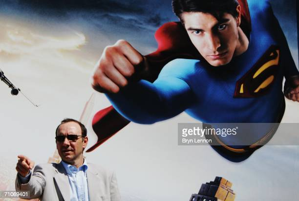 Actor Kevin Spacey attends a Red Bull Racing and Superman Returns photocall prior to the Monaco Formula One Grand Prix at the Monte Carlo Circuit on...