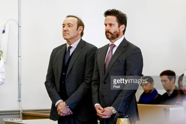 Actor Kevin Spacey attends his arraignment on sexual assault charges with his lawyer Alan Jackson at Nantucket District Court on January 7, 2019 in...