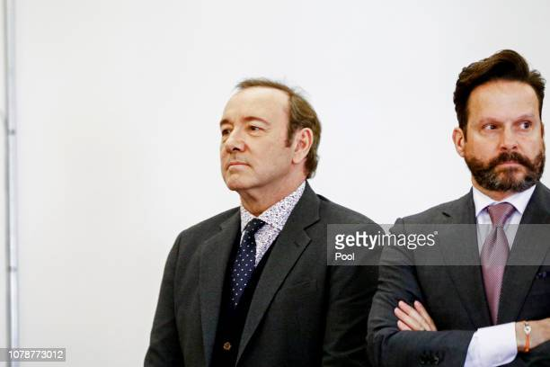 Actor Kevin Spacey attends his arraignment on sexual assault charges with his lawyer Alan Jackson at Nantucket District Court on January 7 2019 in...