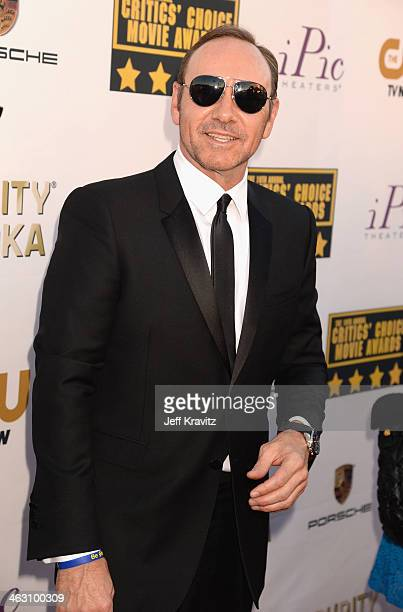 Actor Kevin Spacey attends the 19th Annual Critics' Choice Movie Awards at Barker Hangar on January 16 2014 in Santa Monica California