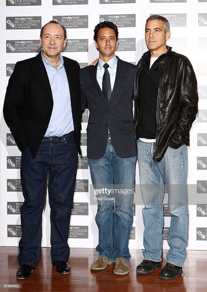Actor Kevin Spacey, Director Grant Heslov and Actor George Clooney attends photocall for 'Men Who Stare At Goats' during The Times BFI London Film Festival at Vue West End on October 15, 2009 in London, England.