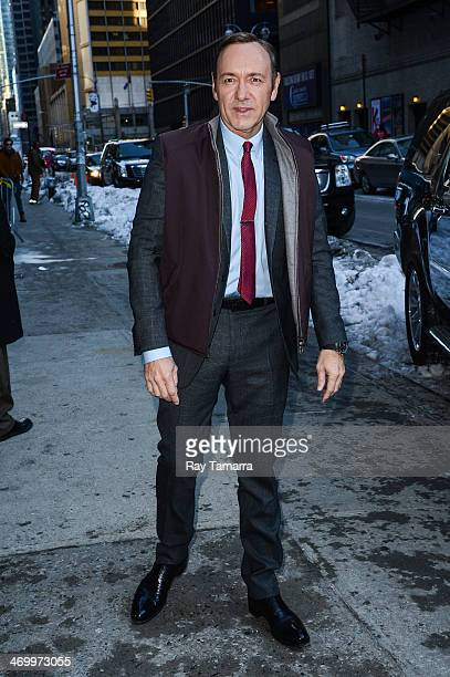 """Actor Kevin Spacey enters the """"Late Show With David Letterman"""" taping at the Ed Sullivan Theater on February 17, 2014 in New York City."""