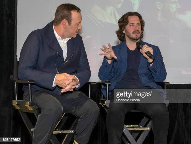 Actor Kevin Spacey intently listens to Director Edgar Wright speak about behindthe scene shots during the making of thier film 'Baby Driver' at the...