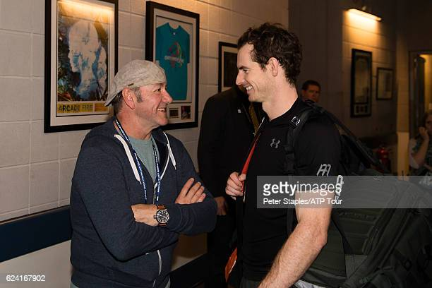 Actor Kevin Spacey meets with Andy Murray of Great Britain after Andy qualifies for the semifinals winning against Stan Wawrinka of Switzerland at...