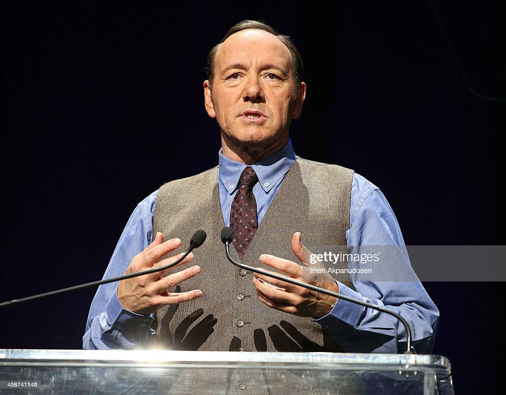 Actor Kevin Spacey speaks onstage at the 2014 Thelonious Monk International Jazz Trumpet Competition at Dolby Theatre on November 9, 2014 in Hollywood, California.