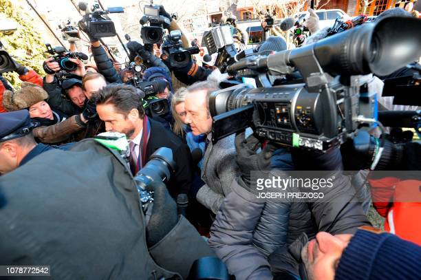 Actor Kevin Spacey wades through a media frenzy as he makes his appearance during his arraignment on January 7, 2019 at the Nantucket District Court,...