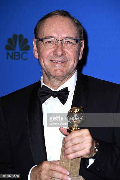 Actor Kevin Spacey Winner of Best Actor TV Series Drama for 'House of Cards' poses in the press room during the 72nd Annual Golden Globe Awards at...