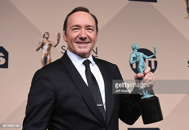 Actor Kevin Spacey, winner of the Outstanding Performance by a Male Actor in a Drama Series award, poses in the press room during the 22nd Annual...