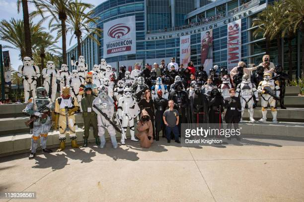 """Actor Kevin Thompson of """"Star Wars Episode VI: Return of the Jedi"""" poses with the 501st Legion cosplay group at WonderCon 2019 Day 2 at Anaheim..."""