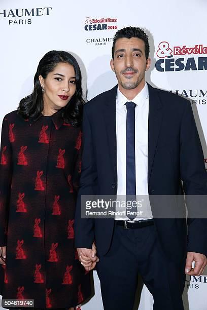 Actor Khereddine Ennasri nominated for 'Nous trois ou rien' and his sponsor Leila Bekhti dressed in Prada attend the 'Cesar Revelations 2016'...