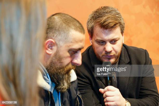 Actor Kida Khodr Ramadan and director Marvin Kren discuss with host Caro Matzko during the Berlinale Open House Panel '4 Blocks' at Audi Berlinale...