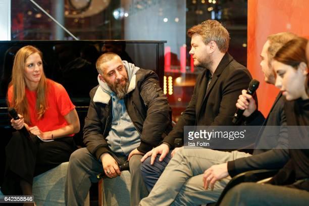 Actor Kida Khodr Ramadan director Marvin Kren actor Richard Kropf and actress Almila Bagriacik discuss with host Caro Matzko during the Berlinale...