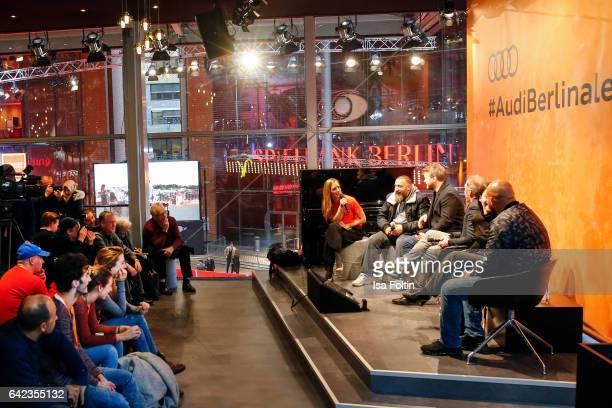 Actor Kida Khodr Ramadan director Marvin Kren actor Richard Kropf actress Almila Bagriacik and rapper and actor Veysel Gelin discuss with host Caro...