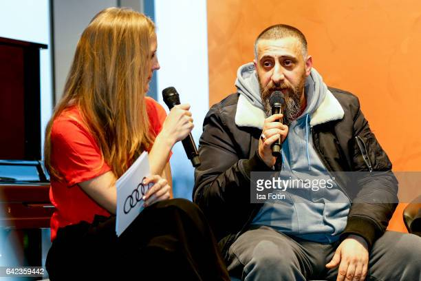 Actor Kida Khodr Ramadan discuss with host Caro Matzko during the Berlinale Open House Panel '4 Blocks' at Audi Berlinale Lounge on February 17, 2017...