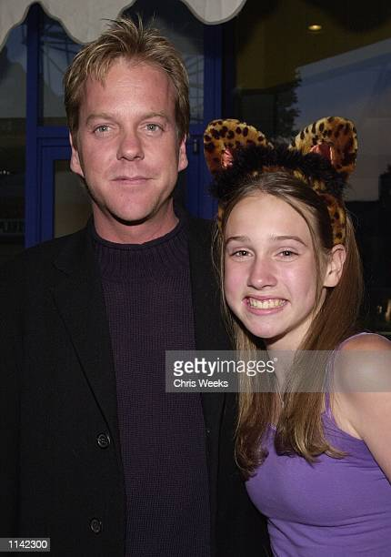 Actor Kiefer Sutherland and his daughter Sarah arrive at the world premiere of Universal Pictures'' Josie and the Pussycats April 9 2001 at the GCC...