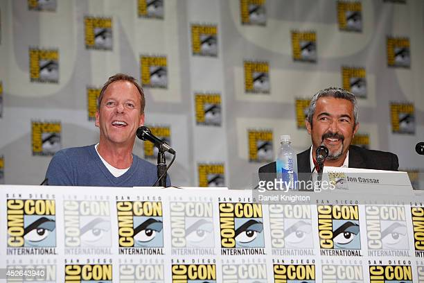 Actor Kiefer Sutherland and producer/writer Jon Cassar attend the '24 Live Another Day' panel during ComicCon International at San Diego Convention...