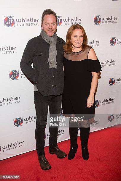 Actor Kiefer Sutherland and Whistler Film Festival executive director Shauna Hardy Mishaw attend the 2015 Annual Whistler Film Festival screening of...