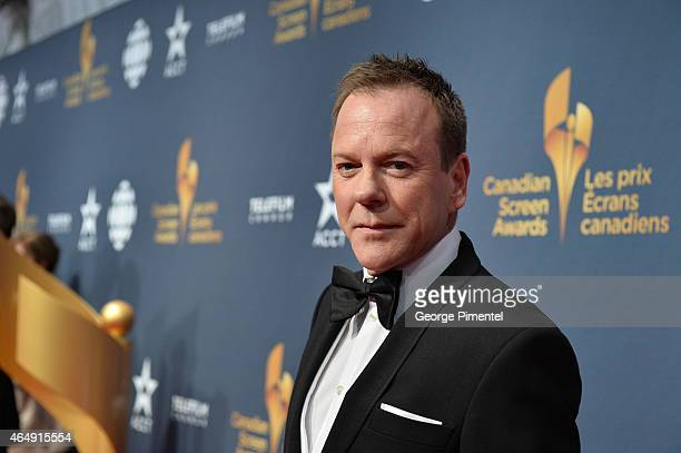 Actor Kiefer Sutherland arrives at the 2015 Canadian Screen Awards at the Four Seasons Centre for the Performing Arts on March 1, 2015 in Toronto,...