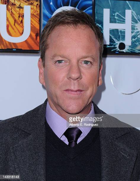Actor Kiefer Sutherland arrives to a special screening of Fox's 'Touch' at Leonard H Goldenson Theatre on April 23 2012 in North Hollywood California