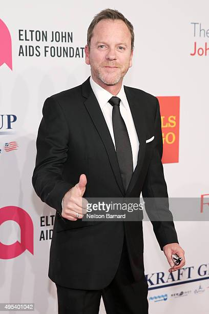 Actor Kiefer Sutherland attends Elton John AIDS Foundation's 14th Annual An Enduring Vision Benefit at Cipriani Wall Street on November 2 2015 in New...