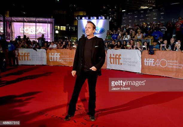 Actor Kiefer Sutherland attends the Forsaken premiere during the 2015 Toronto International Film Festival at Roy Thomson Hall on September 16 2015 in...