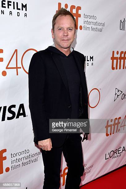 Actor Kiefer Sutherland attends the Forsaken premiere during the 2015 Toronto International Film Festival at Roy Thomson Hall on September 16 2015 in...