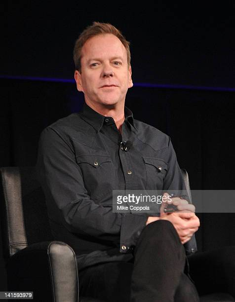 """Actor Kiefer Sutherland attends the """"Touch"""" premiere Q&A at the American Museum of Natural History on March 18, 2012 in New York City."""
