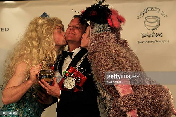Actor Kiefer Sutherland is roasted by Ian Shields and Tessa Kaplan during the Hasty Pudding Theatricals 2013 Man Of The Year honoring Kiefer...
