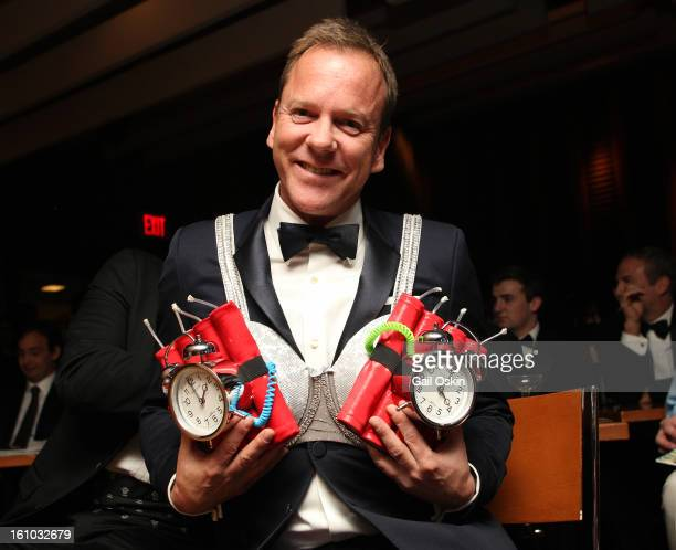 Actor Kiefer Sutherland is roasted by the Hasty Pudding Theatricals 2013 Man Of The Year honoring Kiefer Sutherland on February 8 2013 in Cambridge...