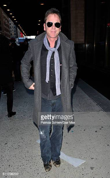 Actor Kiefer Sutherland is seen on February 18 2016 in New York City