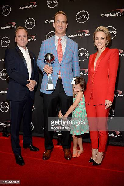 Actor Kiefer Sutherland NFL player Peyton Manning with his daughter Mosley Thompson Manning and actress Rachel McAdams attend The 2015 ESPYS at...
