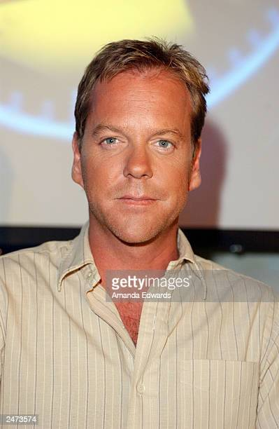 Actor Kiefer Sutherland poses at the 24 hour marathon event in celebration of the September 9 DVD release of the entire second season of '24' at the...