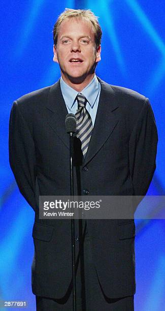 Actor Kiefer Sutherland speaks on stage at the 15th Annual Producers Guild Awards held at the Century Plaza Hotel on January 17th 2004 in Century...