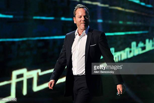Actor Kiefer Sutherland speaks onstage during The Game Awards 2015 at Microsoft Theater on December 3, 2015 in Los Angeles, California.