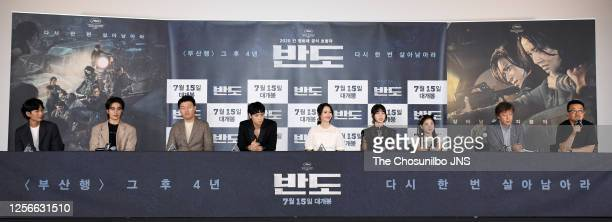 Actor Kim DoYoon Koo KyoHwan Kim MinJae Kang DongWon actress Lee JungHyun Lee Re Lee YeWoen actor Kwon HaeHyo director Yeon SangHo during a press...