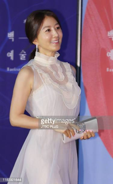 Actor Kim Hee Ae attends the red carpet event of the 55th Baeksang Arts Awards held at COEX in southern Seoul on May 1 2019 in Seoul South Korea