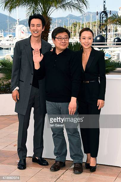 Actor Kim Namgil director Oh SeungUk and actress Jeon Doyeon attend a photocall for MoeRoeHan The Shameless during the 68th annual Cannes Film...