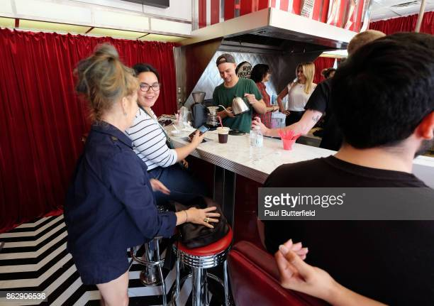 Actor Kimmy Robertson poses and talks with fans and patrons at Showtime's 'Twin Peaks' Double R Diner PopUp on Melrose Avenue on October 18 2017 in...