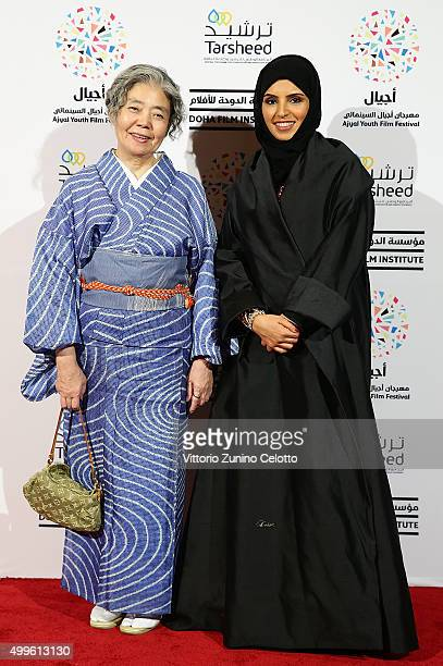 R Actor Kirin Kiki and Ajyal Youth Film Festival Director and Doha Film Institute CEO Fatma Al Remaihi attend a screening of their film ÔAnÕ on day 4...