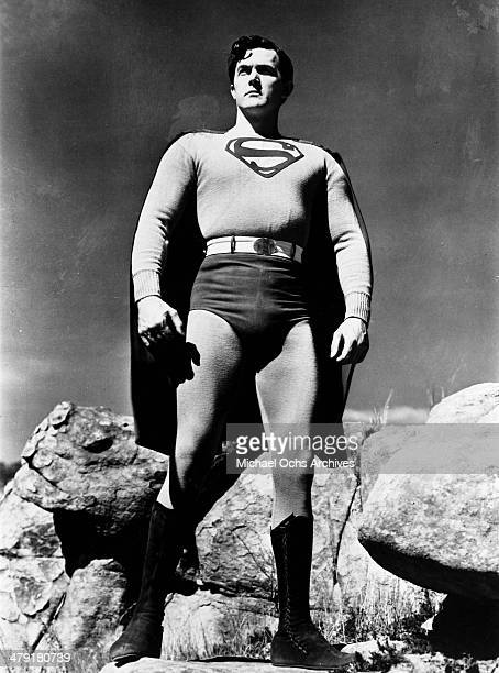 Actor Kirk Alyn poses on set for the film series Superman circa 1948