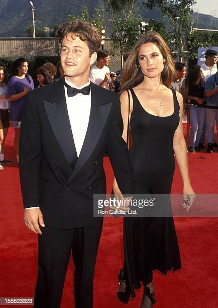 Actor Kirk Cameron and actress Chelsea Noble arrive at Bob Hope's Birthday Celebration and Taping on May 1 1993 at NBC Studio 11 in Burbank California