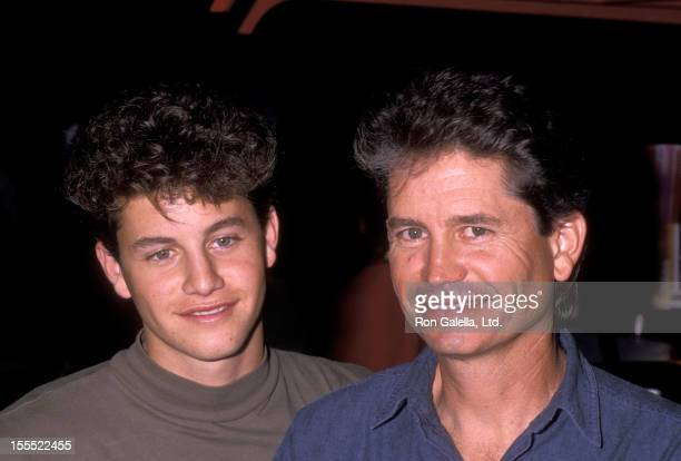 Actor Kirk Cameron and father Robert Cameron attend Hollywood Walk of Fame Star Ceremony Honoring Reverend Billy Graham on October 15, 1989 at...