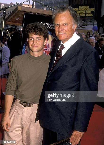 Actor Kirk Cameron and Reverend Billy Graham attend the Hollywood Walk of Fame Star Ceremony Honoring Reverend Billy Graham on October 15, 1989 at...