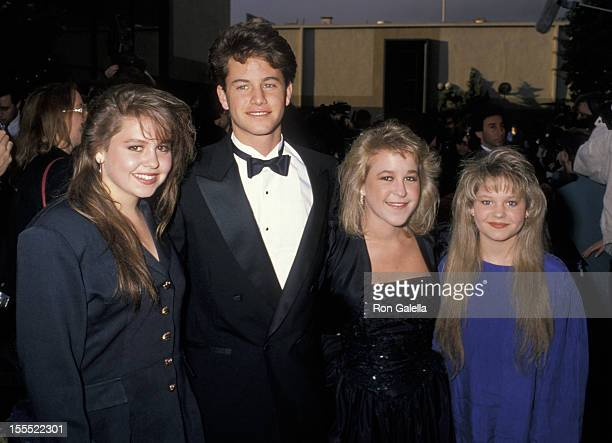Actor Kirk Cameron and sisters Candace Cameron Melissa Cameron and Bridgette Cameron on March 11 1990 at Universal Ampitheater in Universal City...