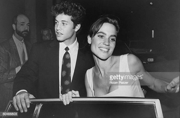 Actor Kirk Cameron w fiancee Chelsea Noble entering car